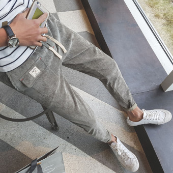 Japanese-style men's Plus-sized summer pants thin casual pants (Light gray color)