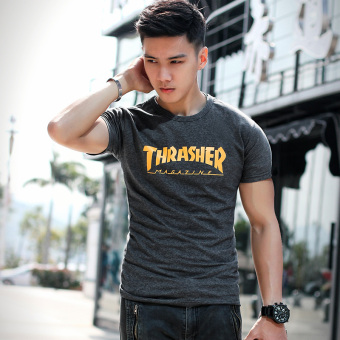 Japanese-style round neck Short sleeve Slim fit bottoming shirt boy's short sleeved t-shirt (Black gray)