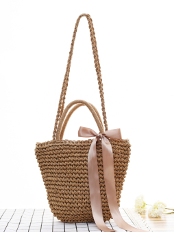 Japanese-style solid shoulder Spell color Woven Bag straw bag (Light coffee color small thick cloth)