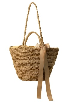 Japanese-style solid shoulder travel rattan bag woven bag ([Large] light coffee color (spot goods)) ([Large] light coffee color (spot goods))
