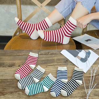 Japanese-style women's socks women's cotton socks (712 thin strips Tube)