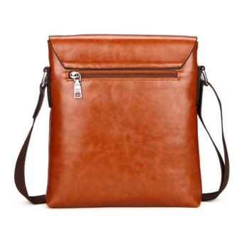 Jeep Cowhide Leather Crossbody Bag Shoulder Bag Men Tote Bag Business Casual Messenger Bag (Big Size / Coffee) - 4