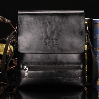 Jeep Cowhide Leather Crossbody Bag Shoulder Bag Men Tote Bag Business Casual Messenger Bag (Big Size / Coffee) - 2