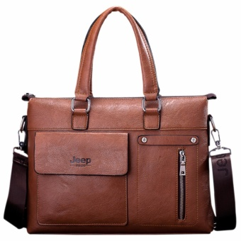 Jeep Men's Korean Genuine Cowhide Leather Portable Handbag Male Fashion Business Tote Bag Crossbody Bag Computer Bag Briefcase (Brown) - intl Price Philippines