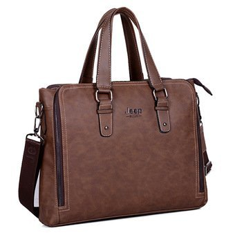 Jeep Tote Bag Shoulder Messenger Laptop Briefcase Crossbody Handbag Retro Computer Men Bag For Ipad (Coffee) - intl(...)