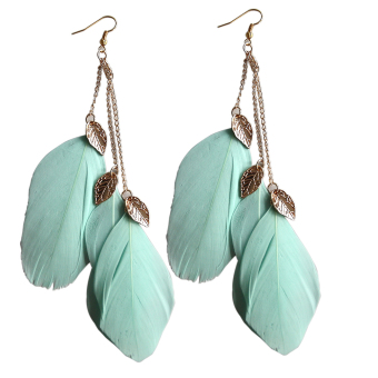 Jetting Buy Handmade Leaf Feather Long Drop Hook Earrings Green