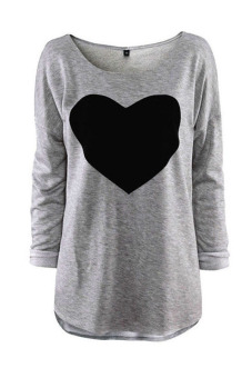 Jetting Buy Heart Design Long Sleeve Blouse Gray
