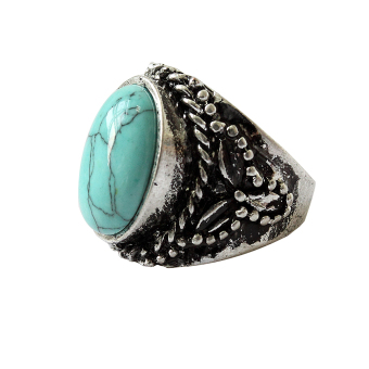 Jetting Buy Vintage Silver Green Turquoise Stone Ring Wedding 6.5