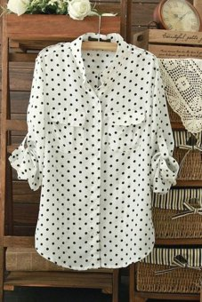 Jetting Buy Women Long Sleeve Blouse Polka Dot Printing White Price Philippines