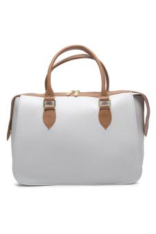 Jewelmine Hepburn Top-Handle Bag (White/Tan)