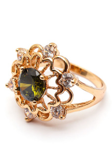 Jewelrista Big Flower Green Ring (Gold)