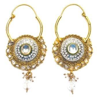 Jewelworld Egyptian Earrings (Gold/White/Green)