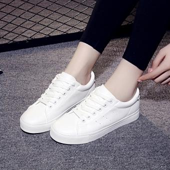 Jianle Womens Korean-style Casual Skate Shoes Black/White (White) Women Sneakers Rubber Shoes
