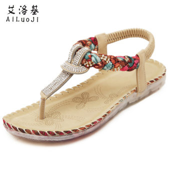 Jianyue crystal female flat sandals New style sandals (Women's + Beige)