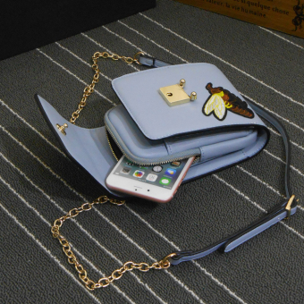 Jianyue embroidered New style Shishang mobile phone bag (Light blue bee origional)