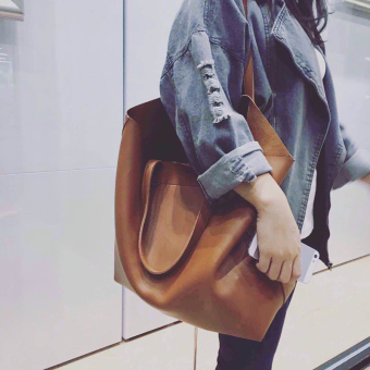 Jianyue soft leather New style Korean-style large bag women's bag (Classic brown large upgrade version with zip)