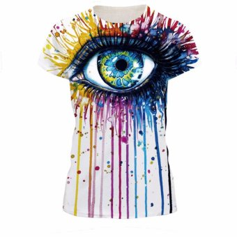Jiayiqi Funny Eyes Print Women Short Sleeve T-shirts Tops - intl