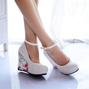 Jiayiqi Women Fashion Wedges Printed High Heels Shoes White - intl - 2