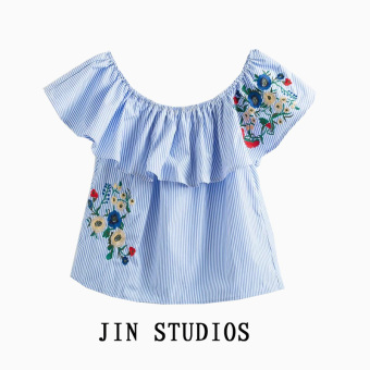 Jin striped flowers embroidered off-the-shoulder horizontal neck blouse