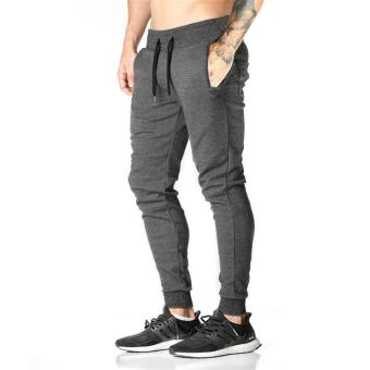 Jirouxiongdi men's Spring and Autumn thin casual pants (Dark gray color)