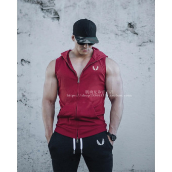 Jirouxiongdi muscle men's running fitness vest hoodie (Red)