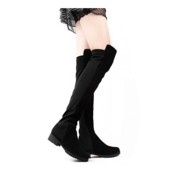 Jo.In Black Women's Shoes Over the knee Faux Suede High Flat Boots(Black)