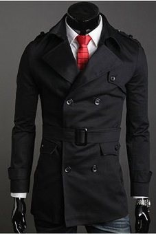 Jo.In Men's Stylish Double Breasted Long Trench Coat Jacket Windbreak 2 Colors (Black)
