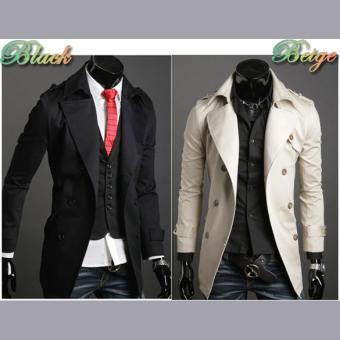 Jo.In Men's Stylish Double Breasted Long Trench Coat JacketWindbreak 2 Colors - 2