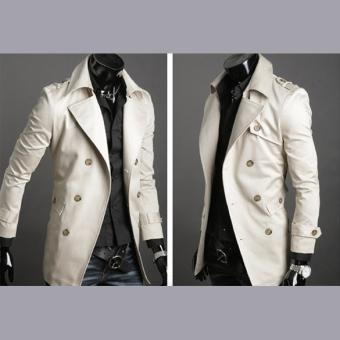 Jo.In Men's Stylish Double Breasted Long Trench Coat JacketWindbreak 2 Colors - 5