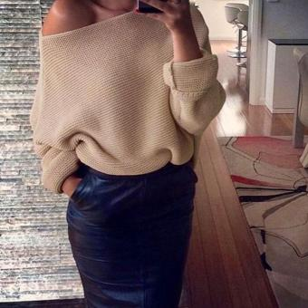 Jo.In New Fashion Women Batwing Sleeve Knitting One Shoulder LoosePullover Casual Sweater - intl