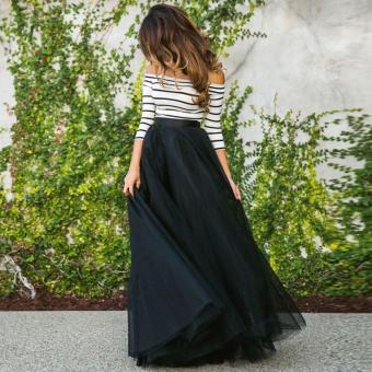 Jo.In New Fashion Women Ladies Off-shoulder Striped High Waist TutuBall Gown Party Club Slim Long Dress Sets - intl - 4