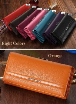 Jo.In Women High Quality Solid Button Leather Hand Bag Long ClutchWallet Purse Black - 2