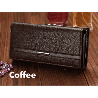 Jo.In Women High Quality Solid Button Leather Hand Bag Long ClutchWallet Purse Black - 3
