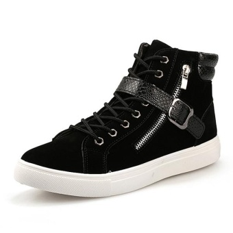 JollyChic Men's Lacing Casual Patchwork Trendy Belt Ornament Platform Boots-Black - intl