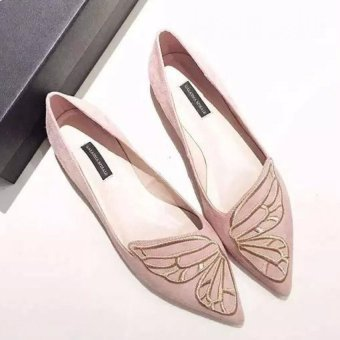 JOY Butterflies embroidered pointed flat shoes(pink) - 2