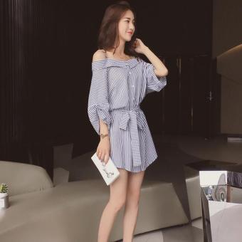JOY Korea Korean fashion Big size shirt skirt Black - 3