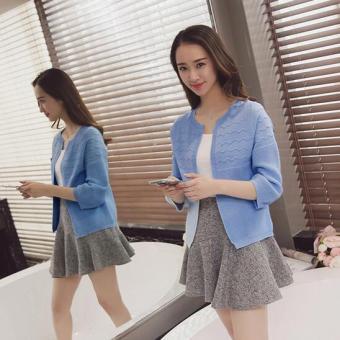 JOY Korea Korean fashion loose short sweater cardigan Blue - 3