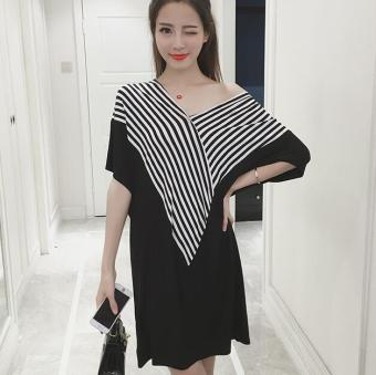 JOY Large size loose stripe dress Black