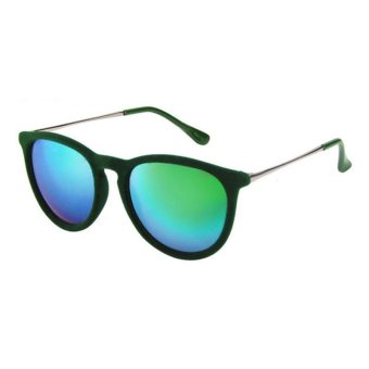 Juli 4171-7 Fashion Unisex Vintage Velvet Sunglasses (Green)