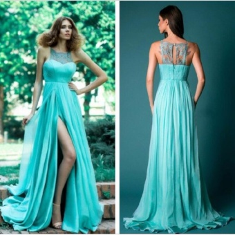 JVIVI 2017 Party Ball Prom Gown Formal Bridesmaid Cocktail Long Dress Sexy Side Split Lace Joint Evening Party Dress - intl