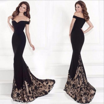 JVIVI 2017 Party Ball Prom Gown Formal Bridesmaid Cocktail LongDress Sexy bronzing Wrap chest strapless Lace Joint Evening PartyDress - intl
