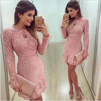 JVIVI New Arrive Vestidos Women Fashion Casual Lace Dress 2017O-Neck Long Sleeve Pink Evening Party Dresses Vestido de festaFashion Trend - intl