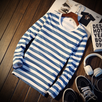 JVR Men's Korean-style Round Neck Striped Long Sleve Shirt (CT092.5 male points-blue stripe)