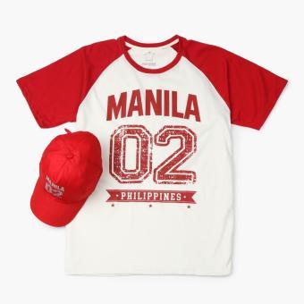 Kamisa By Kultura Mens Graphic Tee and Baseball Cap (Red)