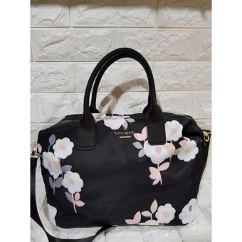 Kate Spade Lyla Nylon Tote Bag with Floral Print - Black