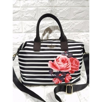 Kate Spade Lyla Nylon Tote Bag with Printed Rose - Black Stripe