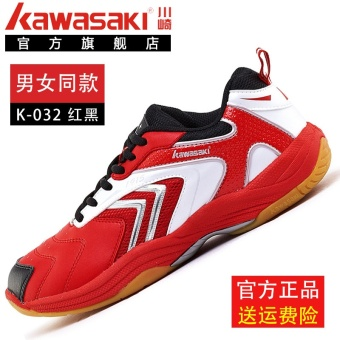 Kawasaki men and women children's celebrity inspired athletic shoes badminton shoes (K-032 black and red)