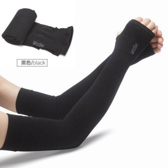 KCmall Cooler Fibers Anti UV Arm Sleeves Hand Socks Let's SlimOutdoor Sports Sunscreen Bike Cycling Cuff Breathable Arm WarmersSleeves (Black) - intl