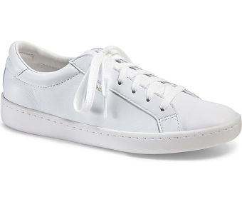 Keds Ladies Ace Leather Sneakers (White)