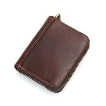 KEVIN YUN Vintage Men Genuine Leather Credit Card Holder Coffee - 2